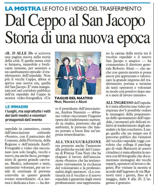 Dal Ceppo al San Jacopo. La Nazione 6.4.14