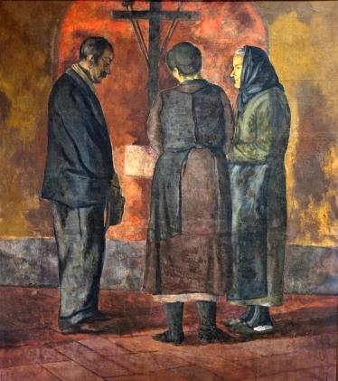 Bugiani Pietro. Preghiera, 1937, affresco staccato, 155x70, inv.341 Museo Civico Pistoia.JPG